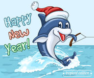 Smiling dolphin in Santa Claus cap rides on his tail as on water skis Stock Image