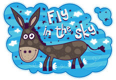 Smiling donkey flying in the sky Royalty Free Stock Images