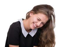 Smiling dziewczyną na Białym Background Zdjęcia Stock