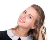 Smiling dziewczyną na Białym Background Obrazy Royalty Free