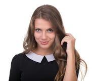 Smiling dziewczyną na Białym Background Zdjęcia Royalty Free