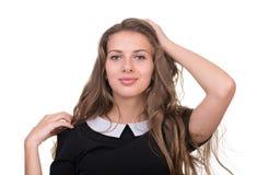 Smiling dziewczyną na Białym Background Zdjęcie Stock