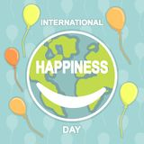 International Happiness Day, 20 March. Smiling Earth conceptual illustration vector Stock Image