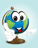 Smiling earth pointing with his finger Stock Photo