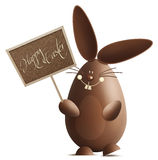 Smiling easter bunny with display happy easter Royalty Free Stock Photo