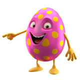 Smiling easter egg, funny 3D cartoon character Stock Photo