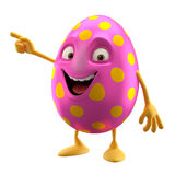 Smiling easter egg, funny 3D cartoon character Stock Photos