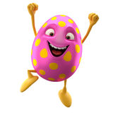 Smiling easter egg, funny 3D cartoon character Stock Images