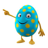 Smiling easter egg, funny 3D cartoon character, showing hands Royalty Free Stock Photo