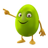 Smiling easter egg, funny 3D green cartoon character, pointing hand Stock Images