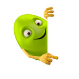 Smiling easter egg, funny 3D green cartoon character, showing hands Royalty Free Stock Image