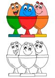Smiling eggs in dishes such as coloring books for kids Stock Images