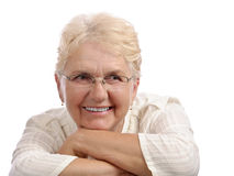 Smiling elder looking left Stock Image