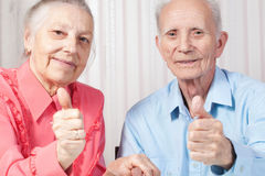 Smiling elderly couple Stock Photo