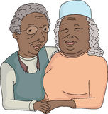 Smiling Elderly Couple Cartoon Stock Photography