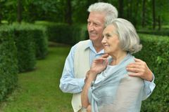 Smiling elderly couple outdoors Royalty Free Stock Photography