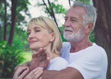 Smiling elderly couple spending time in a park royalty free stock image