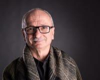 Smiling elderly man in glasses Stock Image