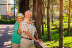 Smiling elderly man and woman. stock photography