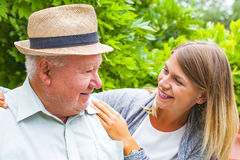 Elderly care outdoor royalty free stock images