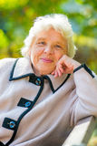 Smiling elderly pensioner rest on the nature Royalty Free Stock Image