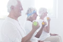 Smiling elderly people lifting dumbbells Stock Images