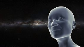 Smiling elderly person looking up to the stars with the Milky Way galaxy in the background 3d illustration. Futuristic visualization of a friendly humanoid alien Royalty Free Stock Image