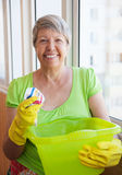 Smiling elderly woman cleaning a window Royalty Free Stock Images