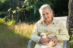 Smiling elderly woman with a small dog royalty free stock photos