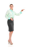 Smiling elegance woman pointing at empty space Royalty Free Stock Photography