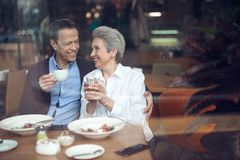 Smiling elegant aged couple happy to meet in cafe. Enjoyable meetings. Waist up portrait of elegant happy aged women and men looking with pleasure to each other stock image