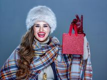 Smiling elegant woman showing small red shopping bag royalty free stock image