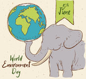 Smiling Elephant with Earth Planet for World Environment Day, Vector Illustration Royalty Free Stock Photos