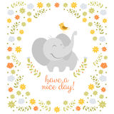 Smiling elephant on floral background Royalty Free Stock Images
