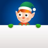 Smiling elf holding blank page Royalty Free Stock Images
