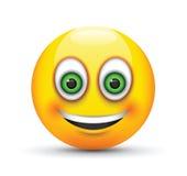 Smiling emoji big green eyes Stock Image