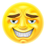 Smiling Emoji Emoticon. An emoji emoticon character smiling in an embarrassed or unctuous way Stock Image