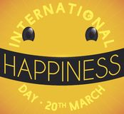 Smiling Emoji Made with Letters to Celebrate International Happiness` Day, Vector Illustration. Yellow design with smiling emoji made with letters forming a royalty free illustration