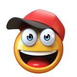 Smiling emoji wearing baseball cap isolated on white background, emoticon with hat 3d rendering Stock Photography