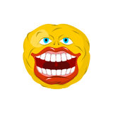 Smiling emoticon. Crazy Emoji. happy is an emotion. Yellow ball Stock Photography