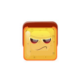Smiling Emoticon Face Angry Emotion Icon. Flat Vector Illustration Stock Images