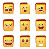 Smiling Emoticon Face Positive And Negative Icons Stock Photography