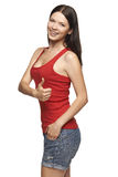 Smiling emotional girl giving you thumb up Royalty Free Stock Photography