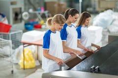 Smiling employee the ironing Stock Photos
