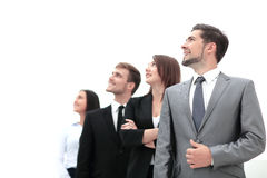Smiling employee`s in a line at work Stock Image
