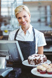 Smiling employee using calculator on counter Stock Photo