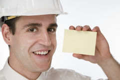 Smiling with empty small card Stock Images