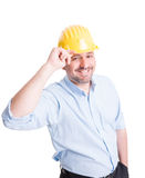 Smiling engineer or architect greeting gesture Stock Photography