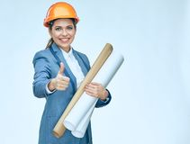 Smiling engineer architect woman showing thumb up. Isolated port. Rait. Business suit Stock Images