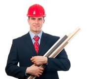 Smiling engineer with hard hat and blueprints Royalty Free Stock Images